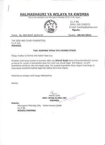 Assistance Request - Kwimba District - Pg1