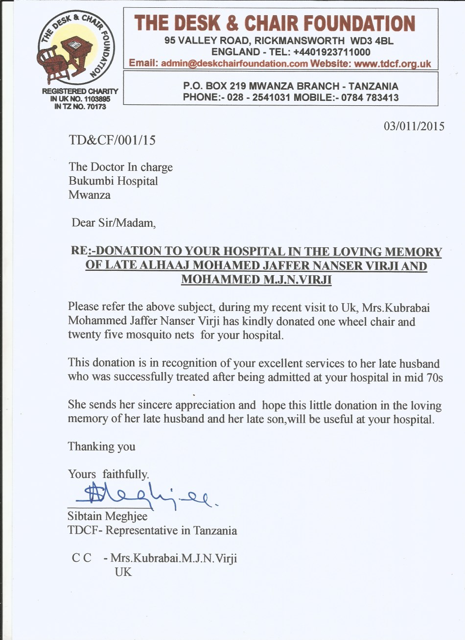 Bukumbi Hospital Donation