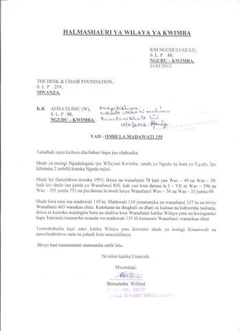 Request For Desks - Ngudulugulu Primary School