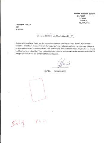Request For Desks - Rahma Nursery School